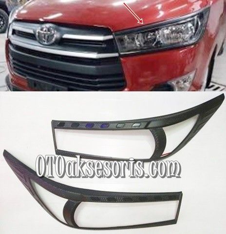 Garnish Depan Hitam /Head Lamp Carbontivo All New Innova Reborn 2016