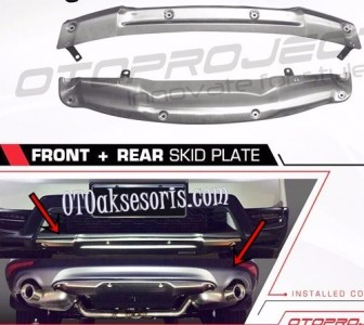 Front n Rear Skid Plate/Depan + Belakang Plate Silver Honda All New CRV Turbo